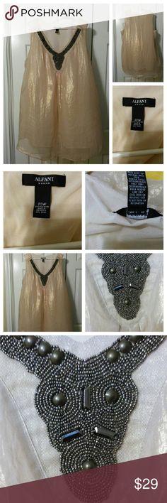 "Alfani Womens sz 20W shimmering Gold Alfani Womens sz 20W shimmering Gold color Approx measurements Bust 49"" Length 30"" 100% Polyester Alfani Woman Tops"