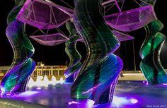 "At night in the ""Rain wood"" - Fountain lights... Riccione, Emilia Romagna, Italy"