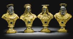 ITALIAN, NAPLES, LATE 17TH CENTURY FOUR RELIQUARY BUSTS OF SAINTS