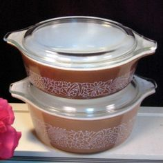 Vintage Pyrex Glass Cookware Woodland Covered Casserole Set