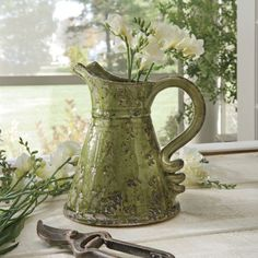 Moss Green Ceramic Pitcher  love it.....love the handle