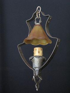 Vintage Craftsman single bulb Pendant fixture    #antiques #Craftsman