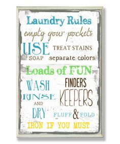 Love this 'Laundry Rules' Wall Sign on #zulily! #zulilyfinds