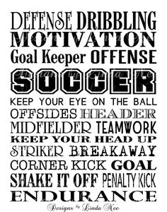 Printable SOCCER Typography Subway Art Wall by DesignsbyLindaNee