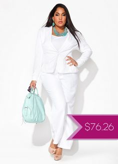 Courthouse Dresses: Plus Size White Pantsuit