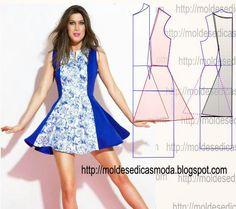 TRANSFORMAÇÃO DE MOLDE VESTIDOS _123 ~ Moldes Moda por Medida Colour block skater dress