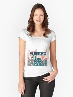 Tropical Summer #redbubble #decor #buyart by designdn Women's Fitted Scoop T-Shirts