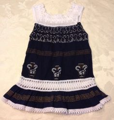 Size 12 Month Girls Dress Egyptian Cotton White Lace Blue Gold Greek Sundress | eBay
