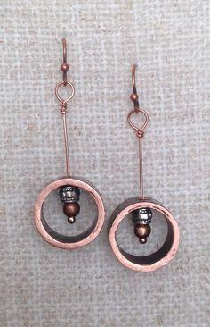 Copper pipe dangle earrings. By LjBlock Designs $18.00
