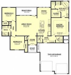 Floorplan - House Plans, Home Plan Designs, Floor Plans and Blueprints Acadian House Plans, Lake House Plans, House Plans One Story, New House Plans, Dream House Plans, Small House Plans, House Floor Plans, Dream Houses, Open Floor Plans