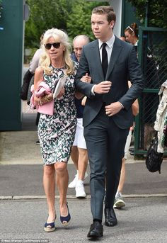 Will Poulter and his mother at Wimbledon - June 28 2016