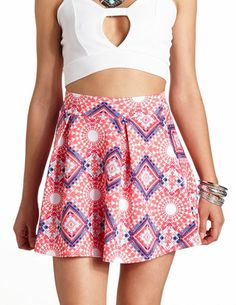 Aztec Print Pleated Skater Skirt: Charlotte Russe