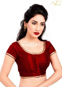 95c932e76cc4a Maroon Party-wear Silk Ready-Made Indian Saree Blouse -