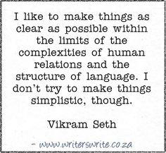 Quotable - Vikram Seth - Writers Write Creative Blog