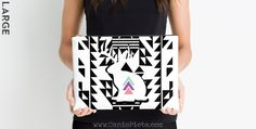 Jackalope Tribal Modern Studio Pouch Accessory Bag Clutch Chic White Black Triangle Pastel Pink Purple Mint Geometric Bunny Rabbit Mythical by CanisPicta on Etsy