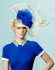 Blue and white hat