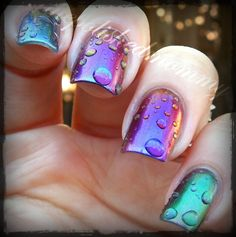 Rain at Sunset #NailArt - #Nails