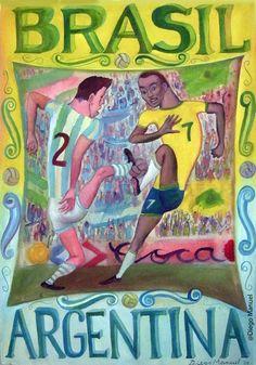 Brasil - Argentina, clasicos de futbol mundial, acrylic on canvas, 64 x 45 cm. 2009