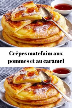 Crêpes matefaim aux pommes et au caramel - Servant Tutorial and Ideas Köstliche Desserts, Delicious Desserts, Yummy Food, Sweet Recipes, Cake Recipes, Dessert Recipes, Chocolate Brownie Cake, Crepes And Waffles, Some Recipe