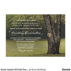Rustic Initials Old Oak Tree Wedding Invitations