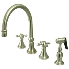 Deck Mount Double Handle Widespread Kitchen Faucet with Knight Cross Handle