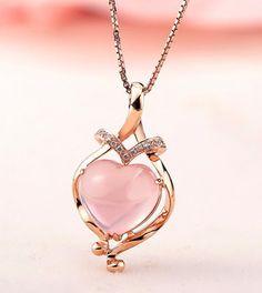 1 Carat Designer Rose Quartz and Diamond Necklace Pendant in Rose Gold