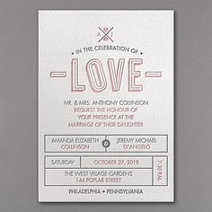 Love Letterpress - Invitation - luxurious thick paper, choose the colors and the fonts and it's all new. ==25% discount at checkout==