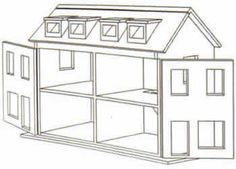 free doll house design plans | Wooden Doll House Plan, Double fronted shop plan (Click to enlarge)                                                                                                                                                                                 More