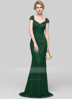 Trumpet/Mermaid V-neck Sweep Train Lace Bridesmaid Dress (007090165) - JJsHouse