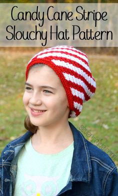 One more crocheted hat pattern before Christmas with video tutorials. The candy cane stripe slouchy hat pattern is perfect for boy and girls of all ages.