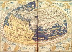 Aunque no perduró ninguna carta de Ptolomeo, en el Renacimiento se reconstruían Mapa Mundi a partir de la Geographia de Ptolomeo. Esta carta es una copia de Johannes de Armsshein, Ulm, en 1482.