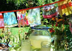 Aprons make alternative prayer flag banners. Time to get out all my grandmother's beautiful old aprons.