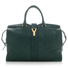 0e79e9a12998 An iconic Yves Saint Laurent satchel in dark green leather with gold-tone  hardware.