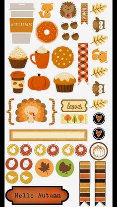 Autumn printable stickers