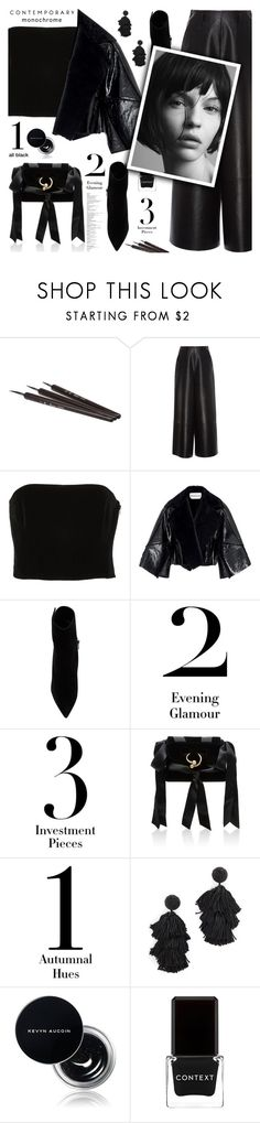 """Monochrome: Black everything"" by jan31 ❤ liked on Polyvore featuring Lanvin, Kitx, Paul Andrew, J.W. Anderson, Sachin + Babi, Kevyn Aucoin, Context and allblack"