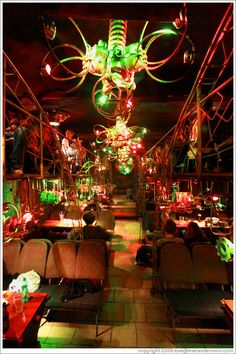 Favorite bar in Prague, Cross Club. Made out of old bus parts. Reggae/Techno scene.