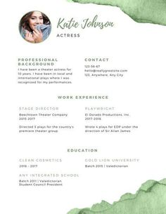 theatre resume Green and White Theatre Resume - Templates by Canva Manager Resume, Resume Cv, Resume Design, Sample Resume, Acting Resume Template, Resume Templates, Free Resume Examples, Resume Ideas, Web Developer Resume