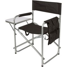 Trademark Innovations Folding Director's Chair with Aluminum Side Table, Storage Bag and Steel Tubing, Black Side Table With Storage, Table Storage, Outdoor Chairs, Outdoor Furniture, Outdoor Decor, Camping Chairs, Blue Canvas, Folding Chair, Director's Chair