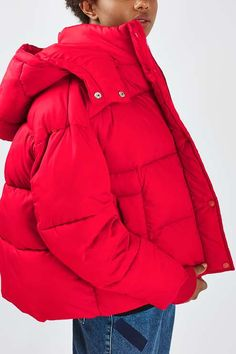 Chunky cropped puffer jacket with contrast pink lining and detachable hood, by Boutique. #Topshop
