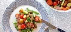 Deze gegrilde krieltjessalade met rucola, champignons, komkommer, tomaat en Parmaham is heerlijk van smaak en makkelijk te maken. Hier mijn recept.