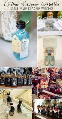 Mini Liquor Bottles as Wedding Favors: From Bubbly to Bourbon to Bailey's #weddingfavors #liquorfavors