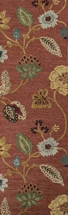 Jaipur Rugs Transitional Floral Pattern Red/Multi Wool and Art Silk Area Rug BL05 (Runner)