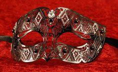 unisex black fretwork metal venetian mask