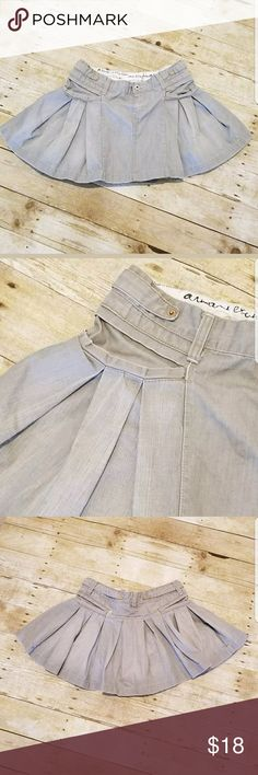 Armani Exchange Pleated Denim Skirt Pleated Denim 2 front pockets 100% cotton Fabric imported from France Machine wash  All measurements are approximate   Waist measured flat 16 inches  Top of waist down 13 1/4 inches   Bin166 Armani Exchange Skirts Mini