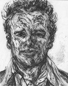 Maggi Hambling ~ Sebastian Horsley, 2002 (charcoal on paper) Abstract Portrait, Abstract Drawings, Pencil Portrait, Portrait Art, Life Drawing, Figure Drawing, Types Of Drawing Styles, Maggi Hambling, A Level Art