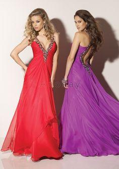 V Ausschnitt Rückenfrei Chiffon Abendkleider PLM1304086