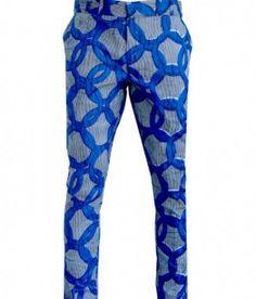Mens skinny trousers blue stripe