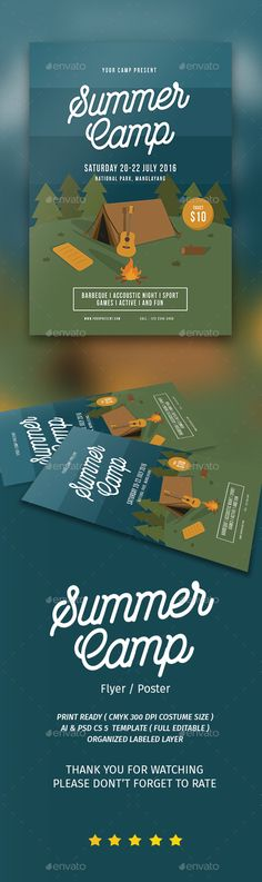 Summer Camp Flyer Template PSD, AI Illustrator. Download here: http://graphicriver.net/item/summer-camp-flyer/16632172?ref=ksioks