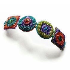 Geometric bracelet, retro chunky statement bracelet, bead embroidered, rainbow, stud earrings