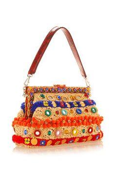 Vanda In Raffia With Mirror Embroidery Shoulder Bag by DOLCE & GABBANA for Preorder on Moda Operandi
